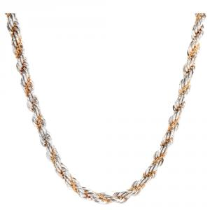 Tiffany & Co. Necklace Twisted Rope 18K Yellow Gold & Silver Necklace