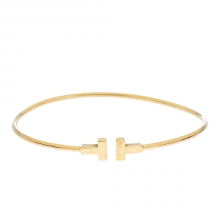 Tiffany & Co. T Wire 18K Yellow Gold Narrow Bracelet