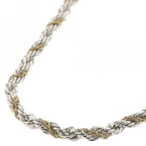 Tiffany & Co. Twisted Rope 18K Yellow Gold Silver Chain Necklace
