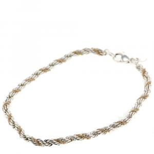 Tiffany & Co. Twisted Rope 18K Yellow Gold Silver Bracelet
