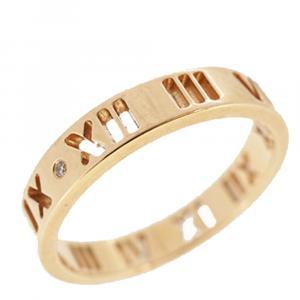 Tiffany & Co. Atlas 18K Rose Gold Diamond Ring Size 52