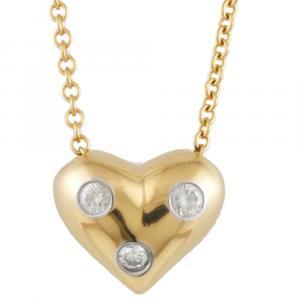 Tiffany & Co. Dot Heart 18K Yellow Gold Platinum Diamond Necklace