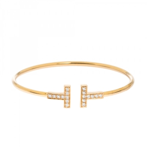 Tiffany & Co. T Wire Diamond 18K Yellow Gold Bracelet