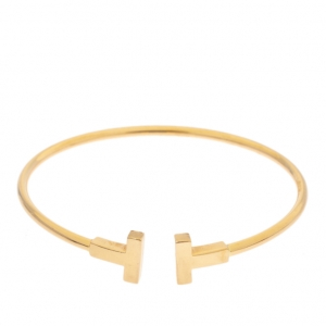 Tiffany & Co. T Wire 18K Yellow Gold Narrow Open Bracelet