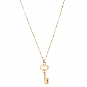 Tiffany & Co. Oval Key 18K Rose Gold Mini Pendant Necklace