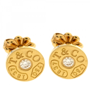 Tiffany & Co. 1837 Circle 18K Yellow Gold Stud Earrings