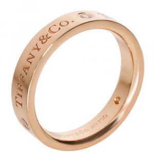 Tiffany & Co. Band Diamonds 18K Rose Gold Ring Size EU 50