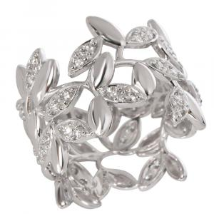 Tiffany & Co. Paloma Picasso Olive Leaf 18K White Gold Diamond Ring Size EU 50.5