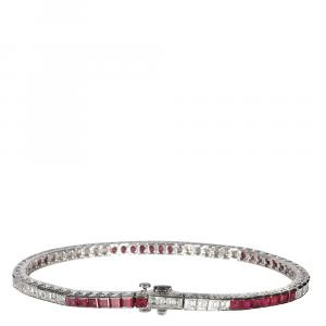 Tiffany Platinum Ruby & Diamond Channel Bracelet