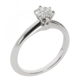 Tiffany & Co. Platinum 0.38 CTW Diamond Solitaire Engagement Ring Size 47.5