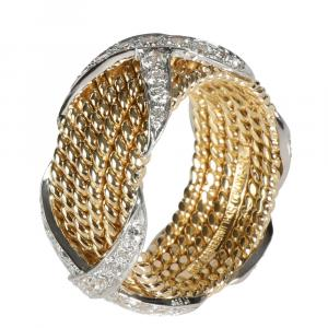 Tiffany & Co. 18K Yellow Gold 1.00 CTW Diamond Schlumberger Rope Six-Row X Ring Size 52.5