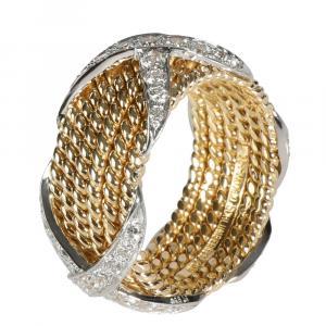 Tiffany & Co. 18K Yellow Gold 1.00 CTW Diamond Schlumberger Rope Six-Row X Ring Size 52.5