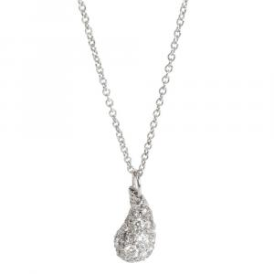 Tiffany & Co. Elsa Peretti Platinum 0.75 CTW Diamond Teardrop Pendant Necklace