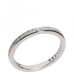Tiffany & Co. Platinum Diamond Wedding Band Ring Size EU 53