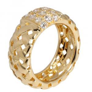 Tiffany & Co. Vannerie Basket Weave Diamond 18K Yellow Gold Ring Size EU 51