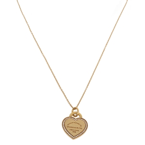 Tiffany & Co. Please Return To Tiffany Diamond 18K Yellow Gold Heart Tag Pendant Necklace