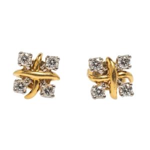 Tiffany & Co. Schlumberger Lynn Diamond Platinum 18K Yellow Gold Stud Earrings