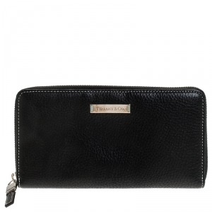 Tiffany & Co. Black Leather Zip Around Continental Wallet