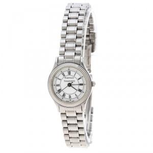 Tiffany & Co. White Stainless Steel Portfolio Women's Wristwatch 24 mm