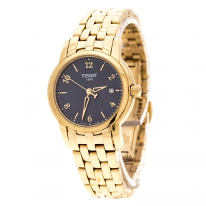 Tissot Blue Yellow Gold Plated Stainless Steel Ballade III Women's Wristwatch 28 mm