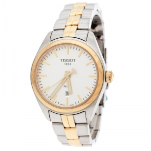 Tissot Silver White Two-Tone Stainless Steel PR100 Women's Wristwatch 39 mm
