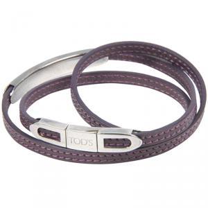 Tod's Lilac Leather Triple Wrap Bracelet