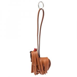 Tod's Brown Leather Fringe Bag Charm