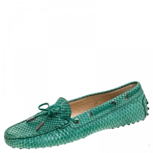 Tod's Green Python Leather Gommino Driving Loafers Size 39