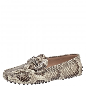 Tod's Two Tone Python Double T Metal Loafers Size 37.5