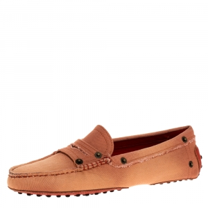 Tod's Pink Canvas Snap Button Embellished Penny Loafer Size 38