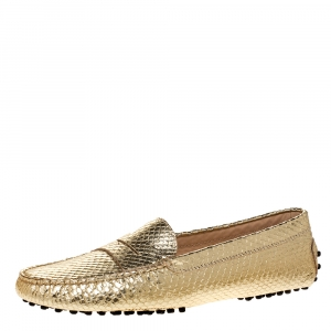 Tod's Gold Python Embossed Leather Penny Slip On Loafers Size 41