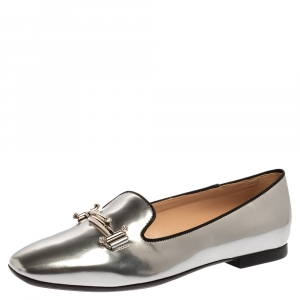 Tod's Metallic Silver Leather Double T Slip On Loafers Size 37