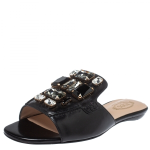 Tod's Black Leather Jewel Embellished Limited Edition Flat Slide Sandals Size 37