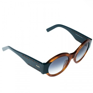 Tod's Brown/Blue Gradient TO212 Tortoise Shell Round Sunglasses