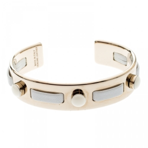 Tod's White Leather Gold Tone Open Cuff Bracelet