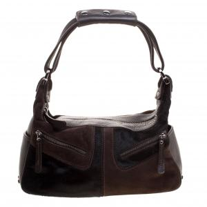 Tod's Brown/Black Suede/Leather and Calfhair Miky Hobo