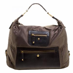 Tod's Olive Green/Dark Brown Nylon and Lizard Embossed Leather Pashmy Hobo