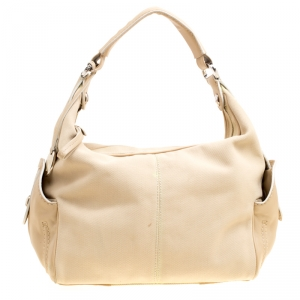 Tod's Beige Canvas and Leather Hobo