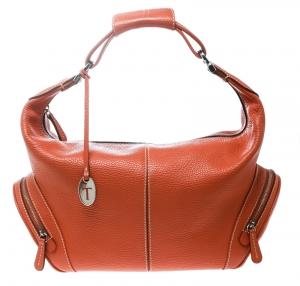 Tod's Orange Leather Charlotte Hobo