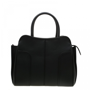Tod's Black Leather Medium Sella Satchel