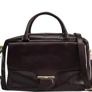 Tod's Burgundy Leather Small Military Bowler Bag