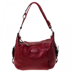 Tod's Red Pebbled Leather Hobo