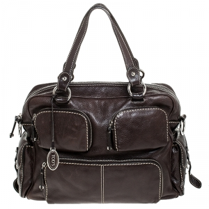 Tod's Dark Brown Leather Large T bag Media Satchel