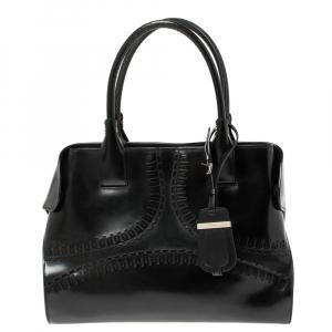 Tod's Black Patent Leather Medium Cape Shopper Tote