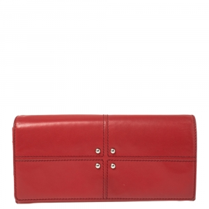 Tod's Red Leather Flap Continental Wallet