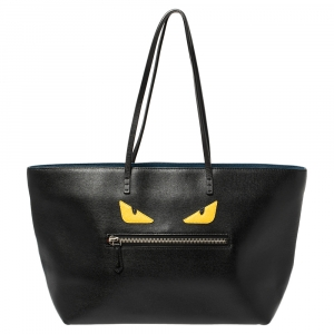Fendi Black Leather Monster Roll Shopper Tote
