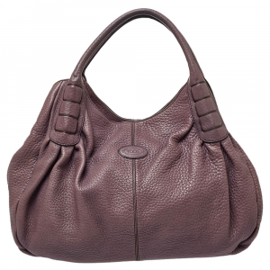 Tod's Purple Leather Ivy Sacca Media Hobo