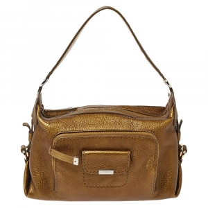 Tod's Metallic Moose Green Grained Leather Front Pocket Hobo