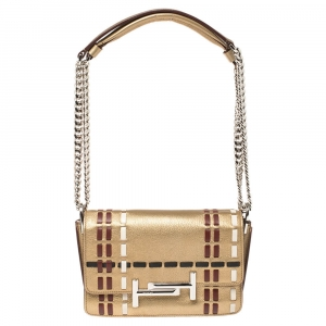Tod's Gold Leather Mini Double T Shoulder Bag