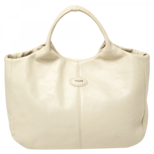 Tod's Off White Leather Small In Forma Tote